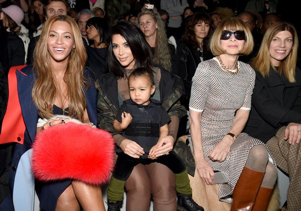 Beyonce, Kim Kardashian, North West, Anna Wintour and Virginia Smith attend the adidas Originals x Kanye West YEEZY SEASON 1