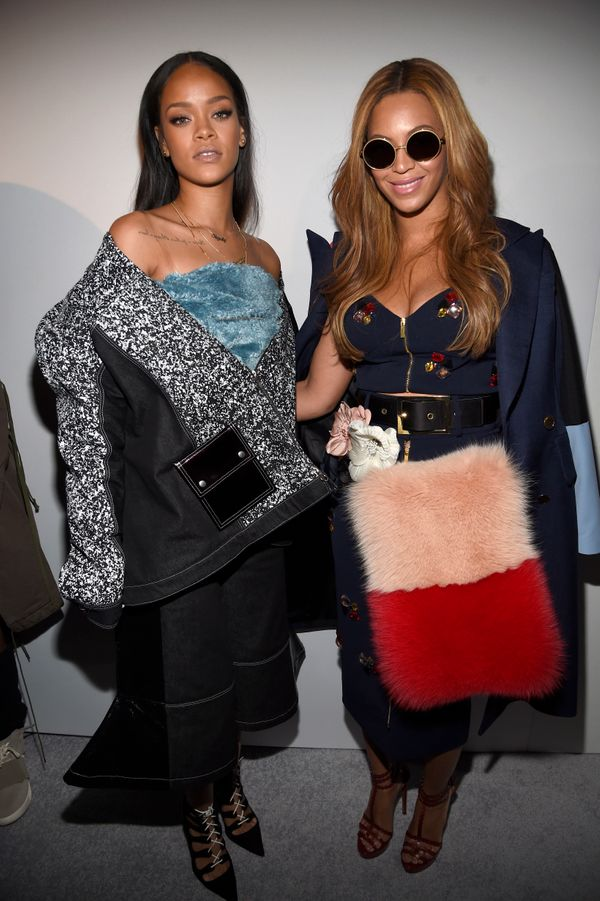 Rihanna and Beyonce pose backstage at the adidas Originals x Kanye West YEEZY SEASON 1 fashion show