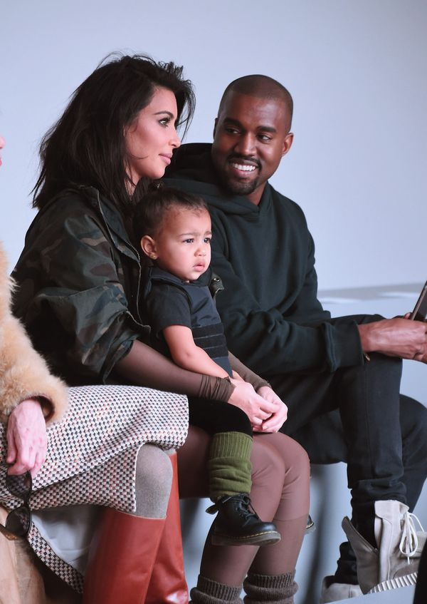 Kim Kardashian, North West and Kanye West attend the Adidas Originals x Kanye West show rehearsal