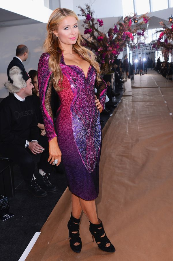 Paris Hilton attends the Gabriela Cadena fashion show
