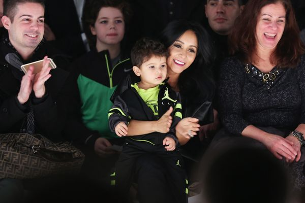 Nicole 'Snooki' Polizzi and son Lorezo LaValle attend the Nike Levi's Kids fashion show