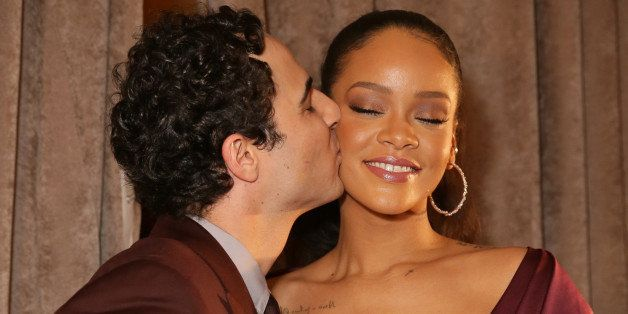 NEW YORK, NY - FEBRUARY 16:  Designer Zac Posen (L) and singer Rihanna pose backstage before the Zac Posen fashion show at Vanderbilt Hall at Grand Central Terminal on February 16, 2015 in New York City.  (Photo by Chelsea Lauren/Getty Images)