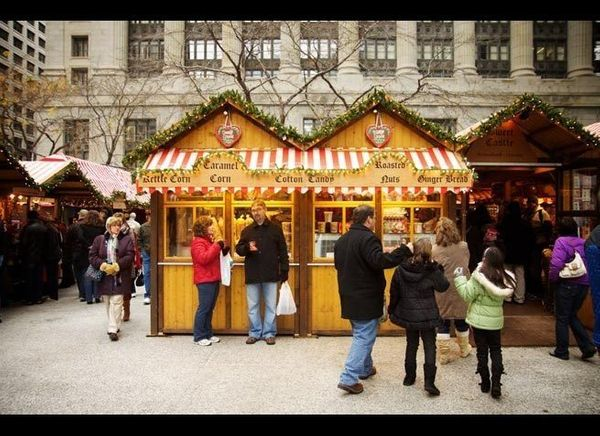 <em>Photo Credit: Christkindlmarket by Marcin Wichary CC BY 2.0.</em>  This festive German marketplace is the perfect locat