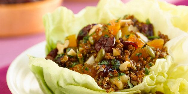 Quinoa salad in lettuce wrap