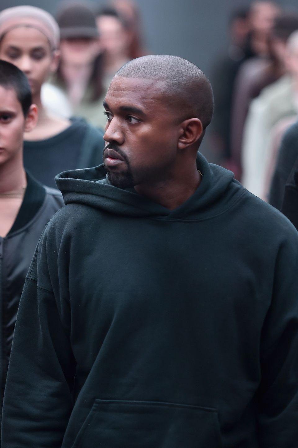 NEW YORK, NY - FEBRUARY 12:  Kanye West on the runway at the adidas Originals x Kanye West YEEZY SEASON 1 fashion show during