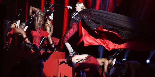 LONDON, ENGLAND - FEBRUARY 25:  Madonna performs at the BRIT Awards 2015 at The O2 Arena on February 25, 2015 in London, England.  (Photo by David M. Benett/Getty Images)