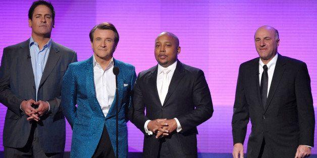 From left, Mark Cuban, Robert Herjavec, Daymond John and Kevin O'Leary, of ᅢ까タᅡワShark Tank,ᅢ까タᅡン present the award for favo
