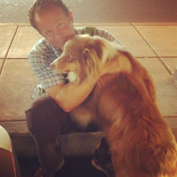 Sloan and Duke (Sloan had been traveling in Alaska and Duke is welcoming him home, at the PHL airport, in this photo)