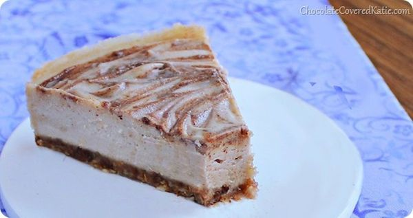 """<strong>Get the <a href=""""http://chocolatecoveredkatie.com/2014/04/01/bake-cinnamon-swirl-cheesecake/"""" target=""""_blank"""">No Bake"""