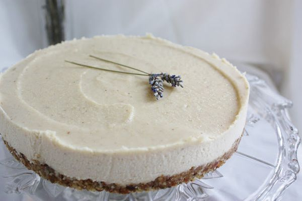 "<strong>Get the <a href=""http://www.thisrawsomeveganlife.com/2012/01/lavender-cheesecake-with-lemon-honey.html"" target=""_blan"