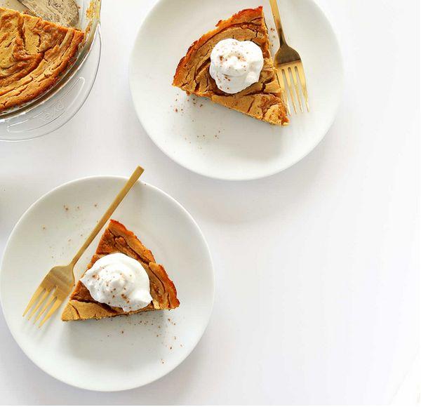 """<strong>Get the <a href=""""http://minimalistbaker.com/vegan-pumpkin-swirl-cheesecake/"""" target=""""_blank"""">Pumpkin Swirl Cheesecake"""