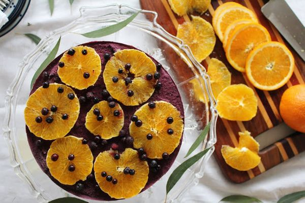 "<strong>Get the <a href=""http://www.thisrawsomeveganlife.com/2012/11/orange-blueberry-cheesecake.html"" target=""_blank"">Orange"