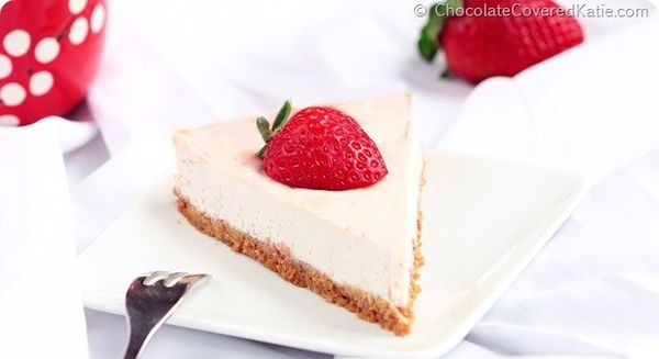 """<strong>Get the <a href=""""http://chocolatecoveredkatie.com/2014/06/26/raw-cheesecake-recipe/"""" target=""""_blank"""">Raw Cheesecake r"""