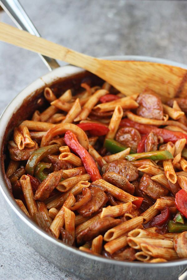 "<strong>Get the <a href=""http://www.ohsweetbasil.com/skillet-italian-sausage-peppers-penne.html"" target=""_blank"">Skillet Ital"