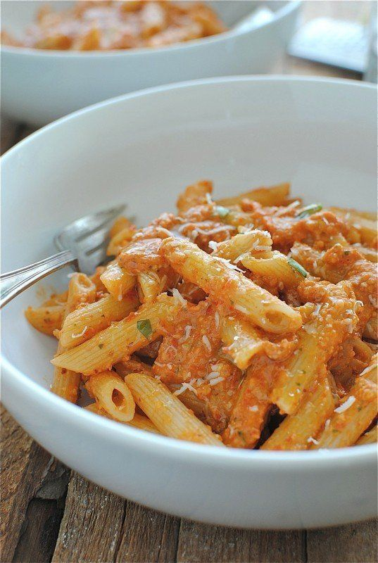 "<strong>Get the <a href=""http://bevcooks.com/2012/07/penne-with-trapanese-pesto/"" target=""_blank"">Penne with Trapanese Pesto"