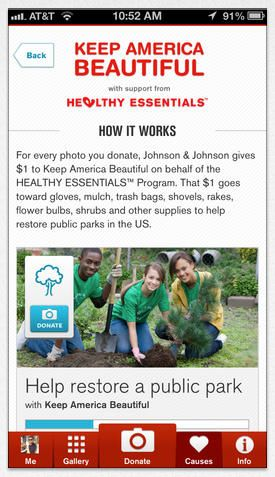 Johnson & Johnson's creative app harnesses the charitable potential of our shutter-happy society. For every photo you share t