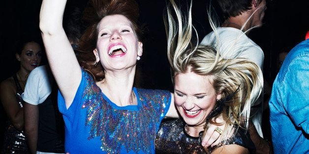 Two women having fun together on night out