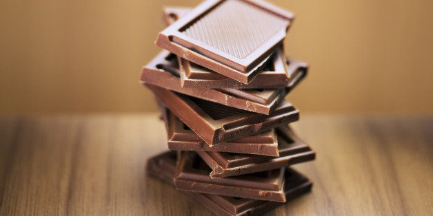 Close up of stack of chocolate squares