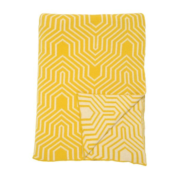 "Brighten up your sofa by day, conquer chilly breezes by night. Yellow Arrows Throw, <a href=""http://www.craneandcanopy.com/pr"