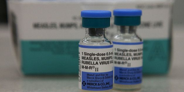 MILL VALLEY, CA - JANUARY 26:  In this photo illustration, vials of measles, mumps and rubella vaccine are displayed on a counter at a Walgreens Pharmacy on January 26, 2015 in Mill Valley, California. An outbreak of measles in California has grown to 68 cases with 48 of the cases being linked to people who had visited Disneyland. Nine additional cases have been reported  in five states and Mexico. (Photo by Illustration Justin Sullivan/Getty Images)