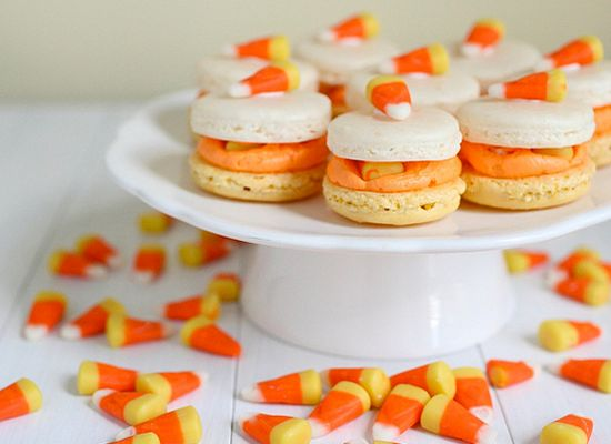 """<strong>Get the <a href=""""http://www.annies-eats.com/2011/10/26/candy-corn-macarons/#"""">Candy Corn Macarons recipe</a> by Annie"""
