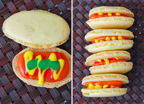 """<strong>Get the <a href=""""http://www.eatlivetravelwrite.com/2011/01/international-incident-party-hot-dogs/"""">Hot Dog Macarons r"""