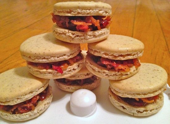 "<strong>Get the<a href=""http://macaronmafia.wordpress.com/2011/12/30/maple-bacon-macarons/""> Maple Bacon Macaron recipe</a> b"