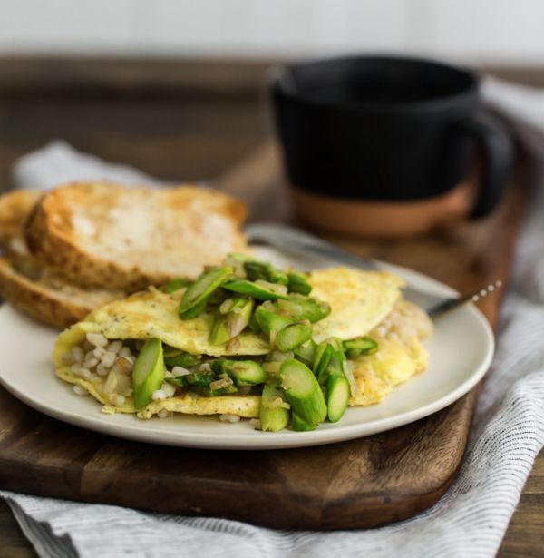 """<strong>Get the <a href=""""http://naturallyella.com/2015/03/05/barley-and-asparagus-omelette/"""" target=""""_blank"""">Barley and Aspar"""