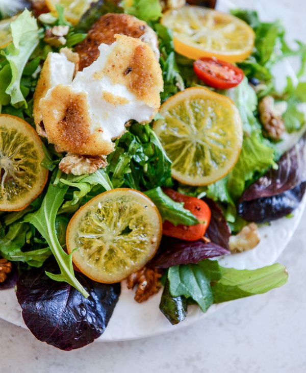 """<strong>Get the <a href=""""http://www.howsweeteats.com/2014/03/spring-greens-with-candied-meyer-lemons-and-spicy-fried-goat-che"""