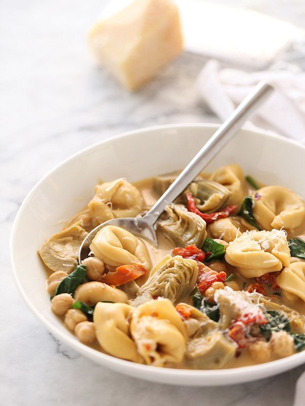 """<strong>Get the <a href=""""http://www.foodiecrush.com/2014/01/tortellini-soup-with-artichokes/"""" target=""""_blank"""">Tortellini Soup"""