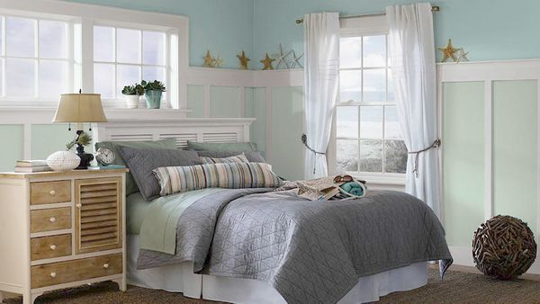 This dusty aqua has become a Pinterest favorite, says Jordan. It works in just about any room, but its spa-like feel can be p