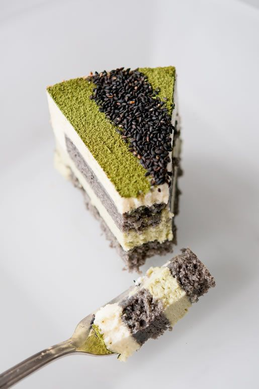 "<strong>Get the <a href=""http://hungryrabbitnyc.com/2013/08/matcha-goma-mousse-cake/"" target=""_blank"">Matcha-Goma Mousse Cake"