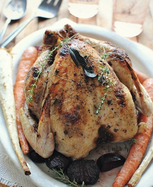 "<strong>Get the <a href=""http://bevcooks.com/2012/08/roasted-chicken-with-fig-butter/"" target=""_blank"">Roasted Chicken with F"