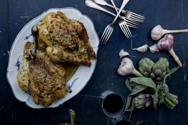"<strong>Get the <a href=""http://mimithorisson.com/2013/04/18/the-windmill-in-blaignan/"" target=""_blank"">Roast Chicken with Cr"