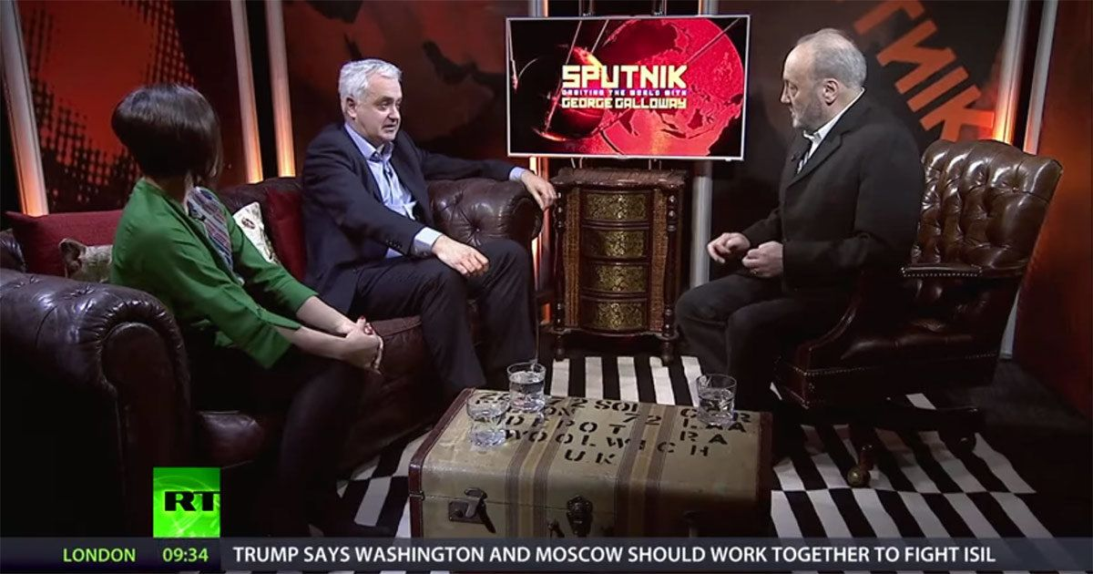Andrew Murray (middle) appearing on the Kremlin-backed RT earlier this year.