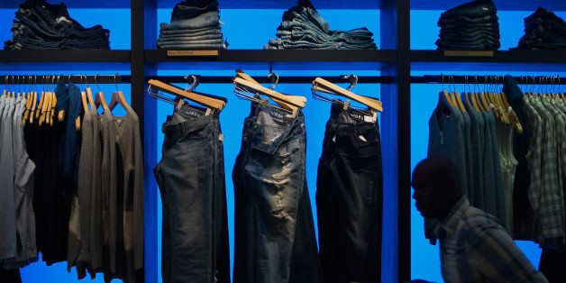 Jeans are displayed for sale at a Gap Inc. store in New York, U.S., on Friday, Sept. 5, 2014. The Gap Inc. plans to roll out order-in-store to 1,000 stores in October to adapt to changing shopping habits and offer customers ease of shopping. This allows shoppers to connect to Wi-Fi in-store and order an item online that may not be in stock. Photographer: Craig Warga/Bloomberg via Getty Images