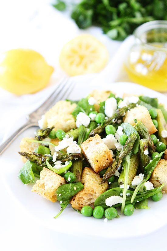 "<strong>Get the <a href=""http://www.twopeasandtheirpod.com/spring-panzanella-salad/"" target=""_blank"">Spring Panzanella Salad<"