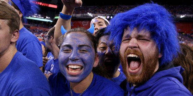 INDIANAPOLIS, IN - APRIL 06:  Duke Blue Devils fans look on before their game against the Wisconsin Badgers during the NCAA Men's Final Four National Championship at Lucas Oil Stadium on April 6, 2015 in Indianapolis, Indiana.  (Photo by Andy Lyons/Getty Images)