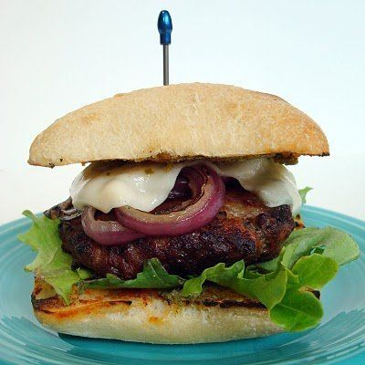 """<strong>Get the <a href=""""http://www.aspicyperspective.com/2010/08/double-comfort-dish.html"""">Little Italy Burger recipe from A"""