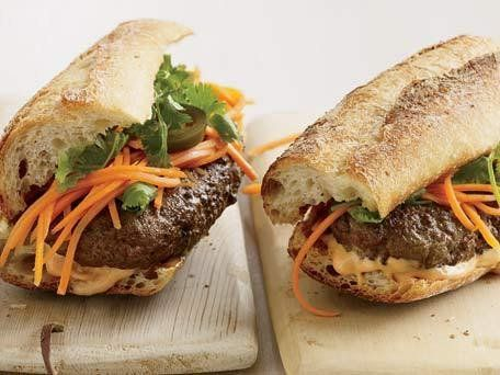 """<strong>Get the <a href=""""https://www.huffpost.com/entry/vietnamese-style-banh-mi-_n_1058774"""">Vietnamese-Style Banh Mi Burgers"""