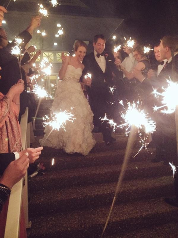 """""""Colonial hats, a sparkler send-off and good friends = great night."""" - Patricia Driscoll """