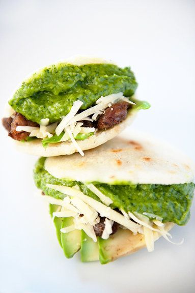"<strong>Get the <a href=""http://userealbutter.com/2010/10/27/arepas-with-guasacaca-recipe/#more-6333"" target=""_blank"">Arepas"