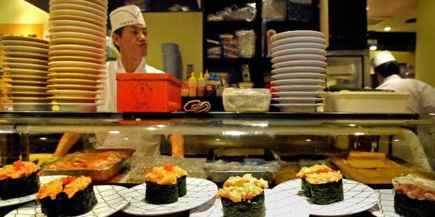 This picture taken on June 22, 2008 shows sushi displayed in a sushi bar of Tokyo.  Victims of their success with fish lovers