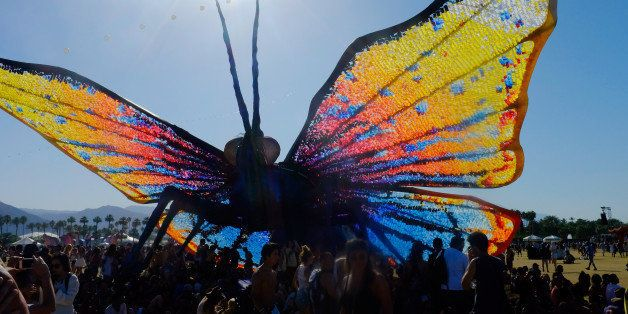 INDIO, CA - APRIL 18:  (EDITORS NOTE: Image was processed using Digital Filters) Papilio Merraculous art installation by Poetic Kinetics is seen during  day 2 of the 2015 Coachella Valley Music And Arts Festival (Weekend 2) at The Empire Polo Club on April 18, 2015 in Indio, California.  (Photo by Frazer Harrison/Getty Images for Coachella)