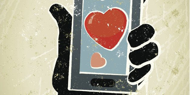 Cyber Dating!A stylized vector cartoon of a businessman holding a mobile phone with a heart. Reminiscent of an old screen print poster and suggesting love, catch, romance, temptation, alluring, Valentine's, online, surfing the web, matchmaking, online or cyber dating. Phonr, hand, heart, paper texture, and background are on different layers for easy editing. Please note: this is an eps 10 illustration and clipping masks have been used.
