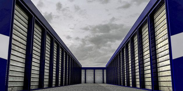 self storage with many blue units closed
