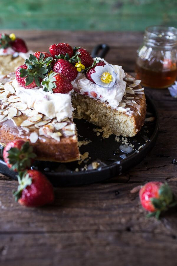 """<strong>Get the <a href=""""http://www.halfbakedharvest.com/almond-honey-cake-with-strawberry-ripple-cream/"""" target=""""_blank"""">Alm"""