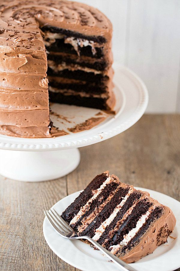 """<strong>Get the <a href=""""http://www.browneyedbaker.com/six-layer-chocolate-cake-with-toasted-marshmallow-filling-malted-choco"""
