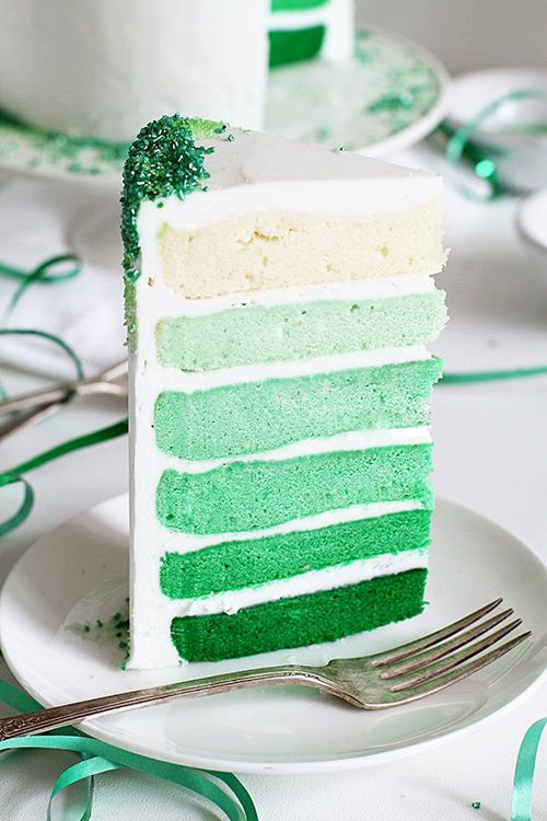 """<strong>Get the <a href=""""http://iambaker.net/green-ombre-cake/"""" target=""""_blank"""">Green Ombre Cake recipe</a> from i am baker</"""
