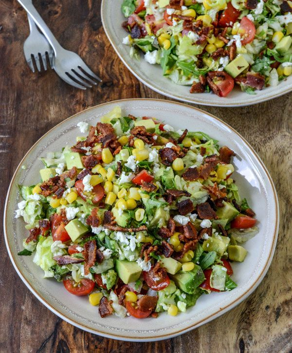 """<strong>Get the <a href=""""http://www.howsweeteats.com/2013/05/blt-chopped-salad-with-corn-feta-avocado/"""" target=""""_blank"""">BLT C"""